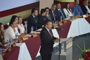 El presidente municipal, Alejandro Tirado, en su discurso de toma de posesión en el que anuncia el plan de austeridad. | Foto: Presidencia municipal de Acámbaro.