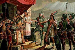 Encuentro de Cortés y Moctezuma (anónimo s. XIX.) Oleo sobre tela. | Imagen: Museo Nacional de Historia INAH.
