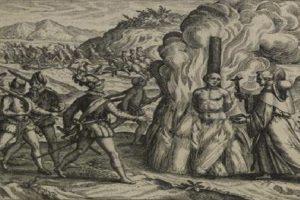 Grabado de Theodor de Bray en la Brevísima relación de la destrucción de las Indias, de Fray Bartolomé de las Casas (1598).