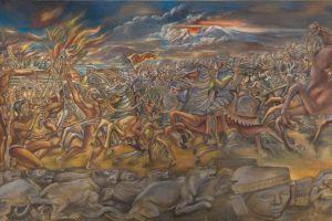 La Conquista.   Óleo sobre tela 204 x 736 cm. / Autor: Federico Cantú (1950-1960) / Colección Museo de Historia Mexicana.