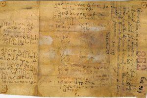 Reproducción del pergamino en que se halla Nodicia de Kesos.   Imagen: Literatura y otros mundos, tomada de la Colección de Documentos Selectos...