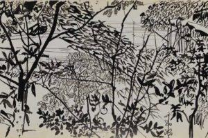 Boceto de Yuman: Árboles voluptuosos (1978). | Autor: Yuan Yunsheg. | Imagen: Secretaría de Cultura.
